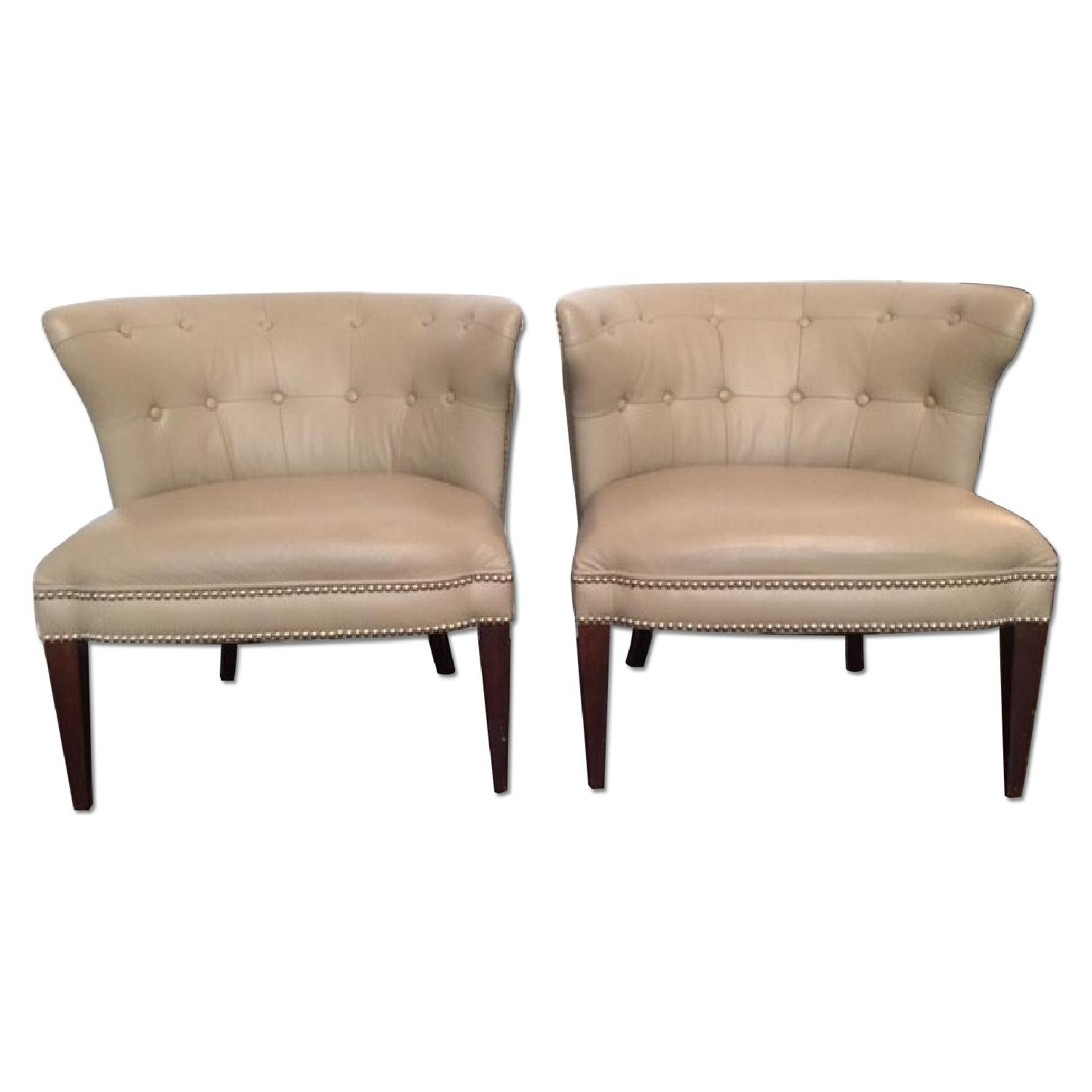 Global Views Leather and Nickel Nail-Head Club Chairs - Pair - image-0
