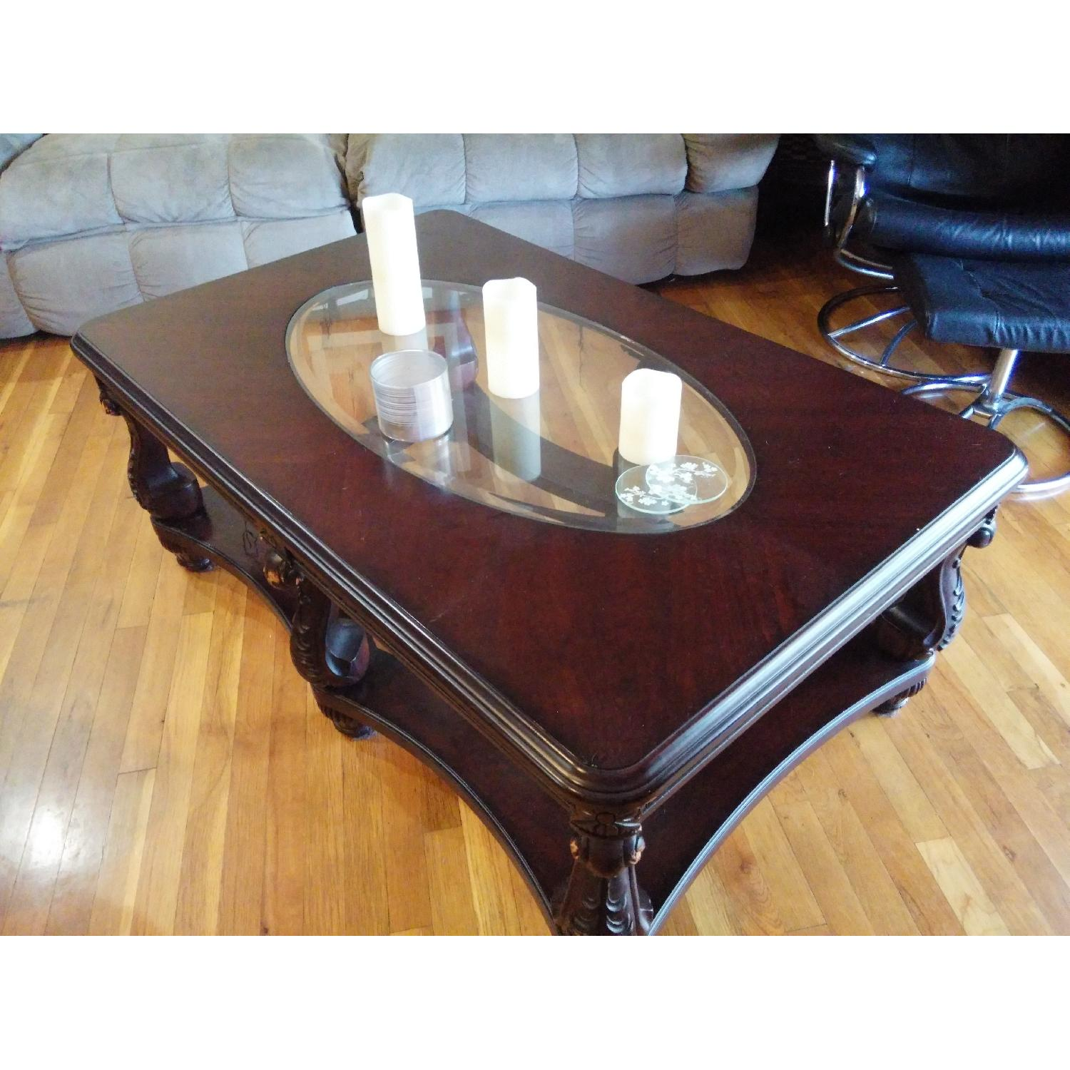 Fortunoff Cherry Wood Glass Table + 2 Side Tables - image-1
