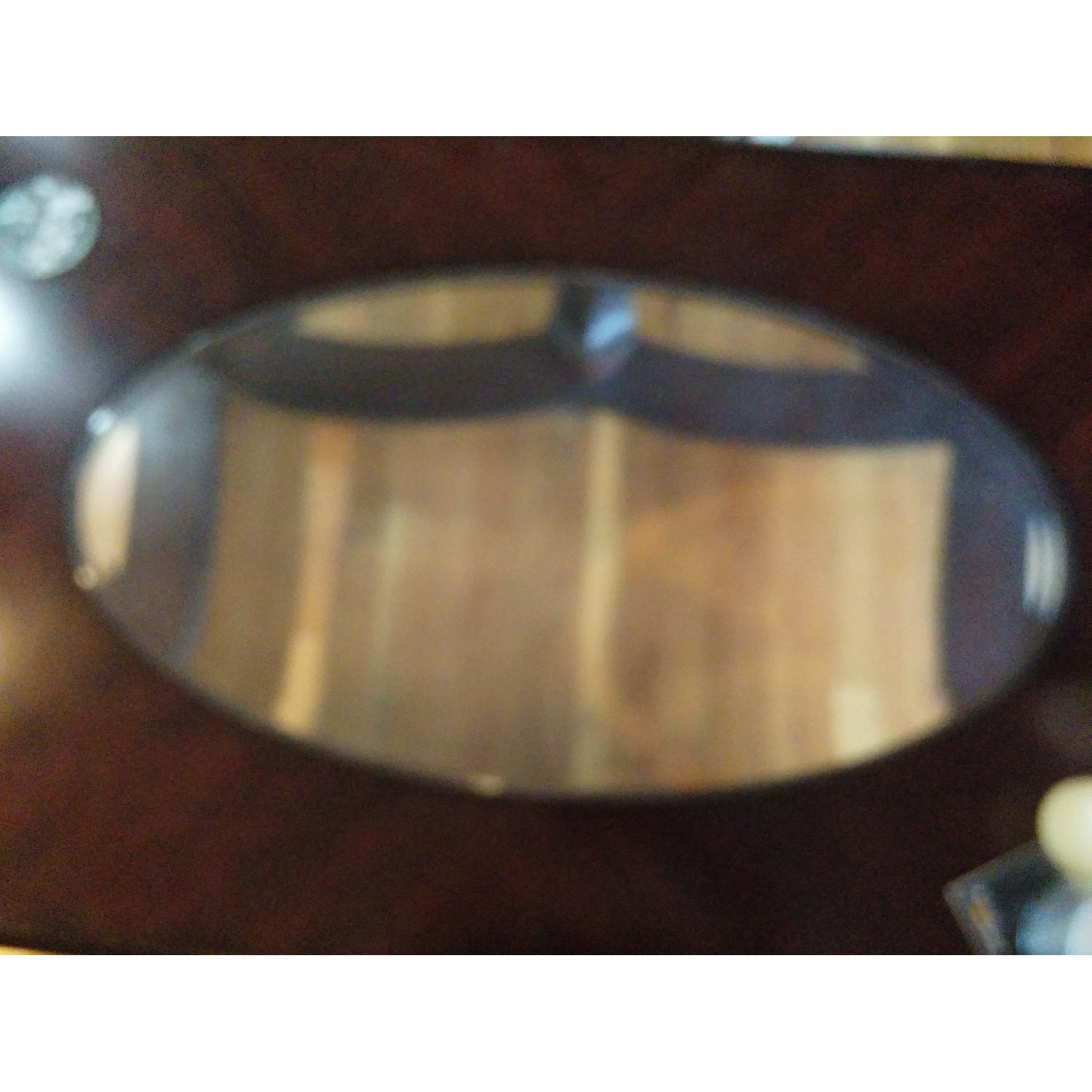 Fortunoff Cherry Wood Glass Table + 2 Side Tables - image-3