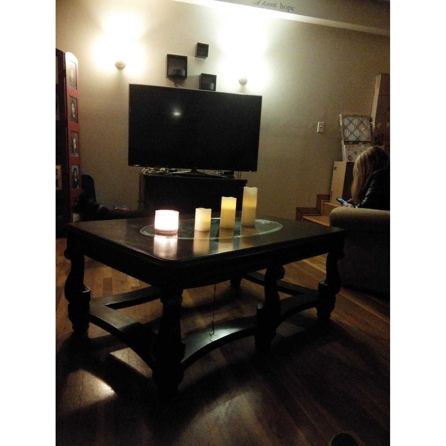 Fortunoff Cherry Wood Glass Table + 2 Side Tables - image-10