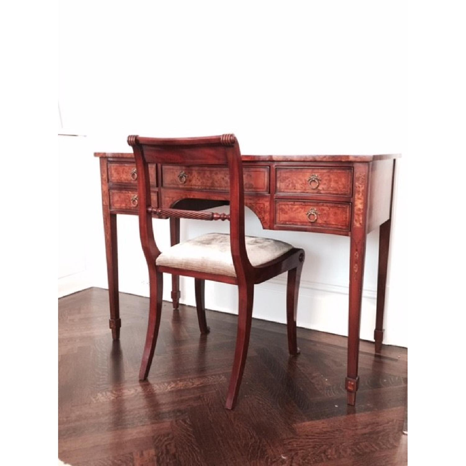 Two-Tone Wood Desk/Vanity and Chair - image-1