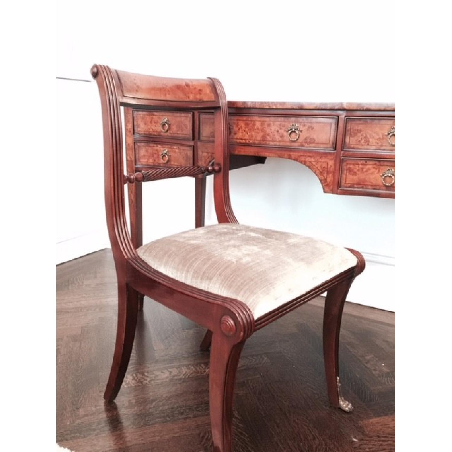 Two-Tone Wood Desk/Vanity and Chair - image-2