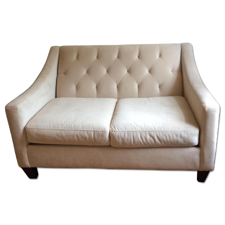 White Tufted Velvet Loveseat - image-0