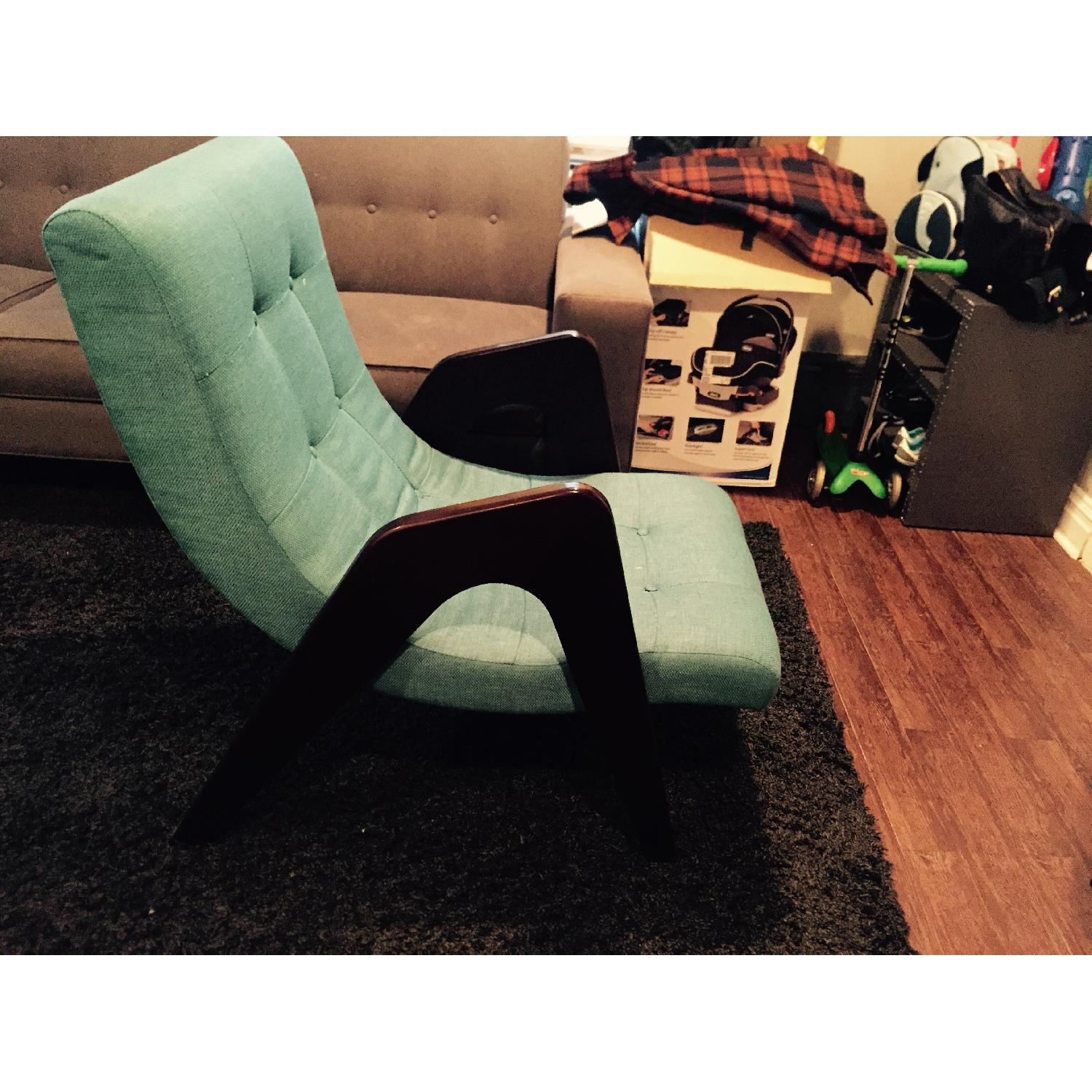 Younger Edie Retro-Chic Teal Lounge Chair - image-1