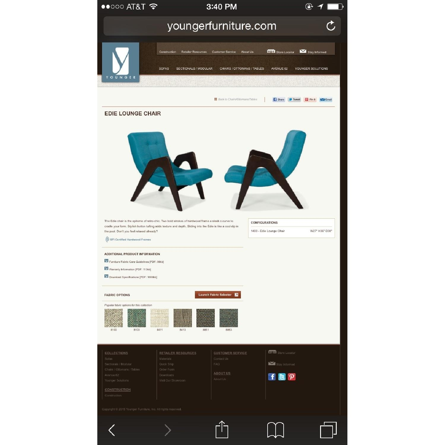 Younger Edie Retro-Chic Teal Lounge Chair - image-4