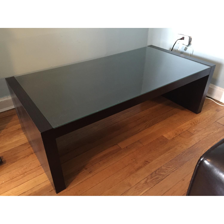 ikea dark brown coffee table w glass top