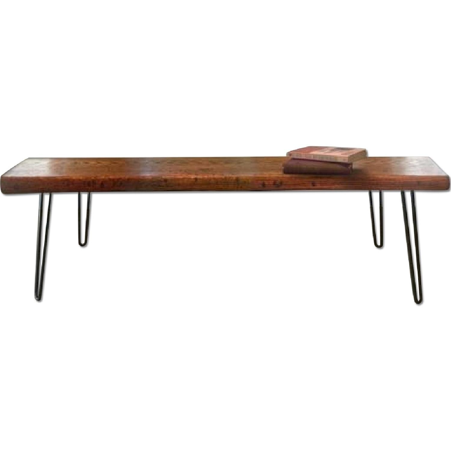 FurnitureNYC Manhattan Reclaimed Coffee Table w/ Hairpin Legs - image-0