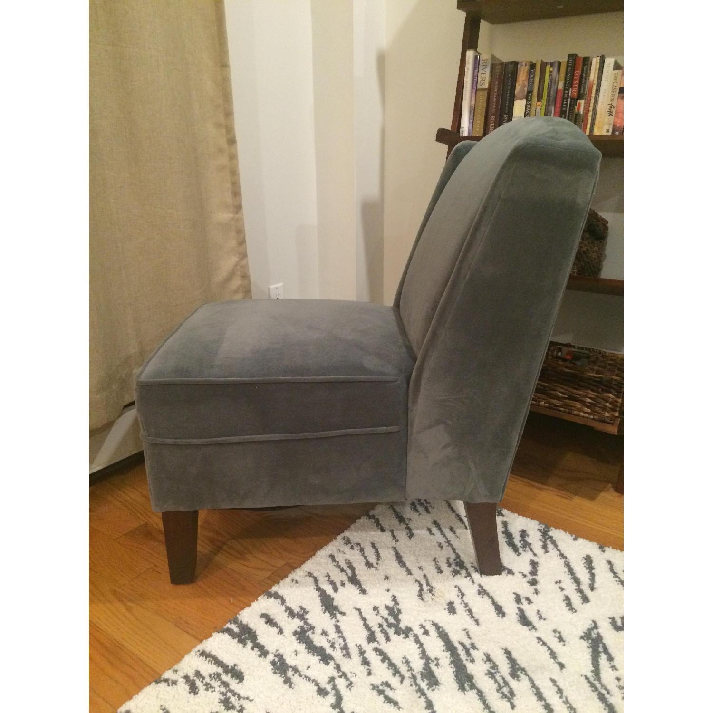 Grey Velvet Accent Chair - image-2