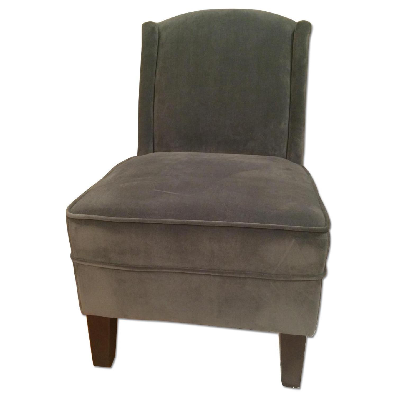 Grey Velvet Accent Chair - image-0