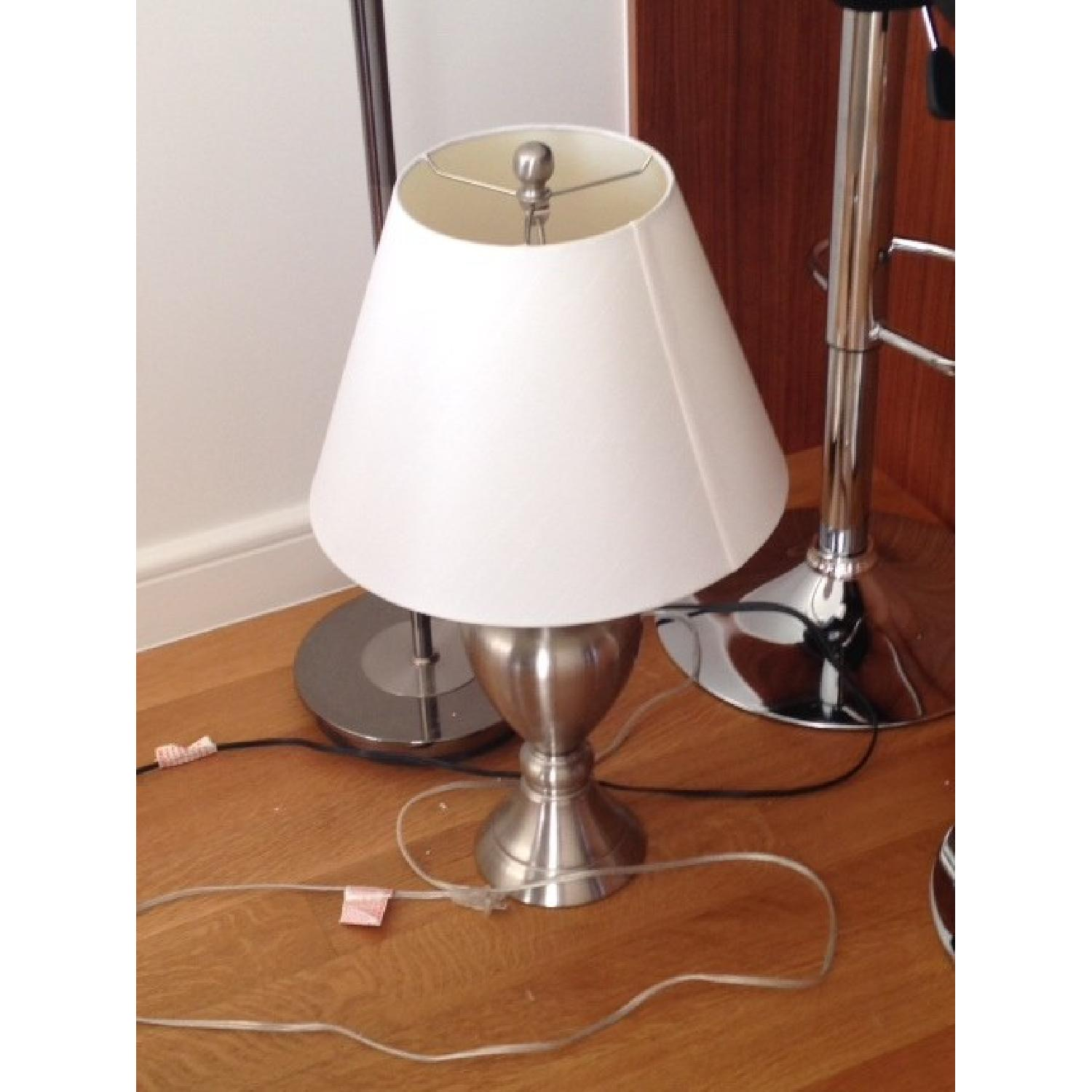 Macy's Silver Table Lamp w/ White Shade - image-1