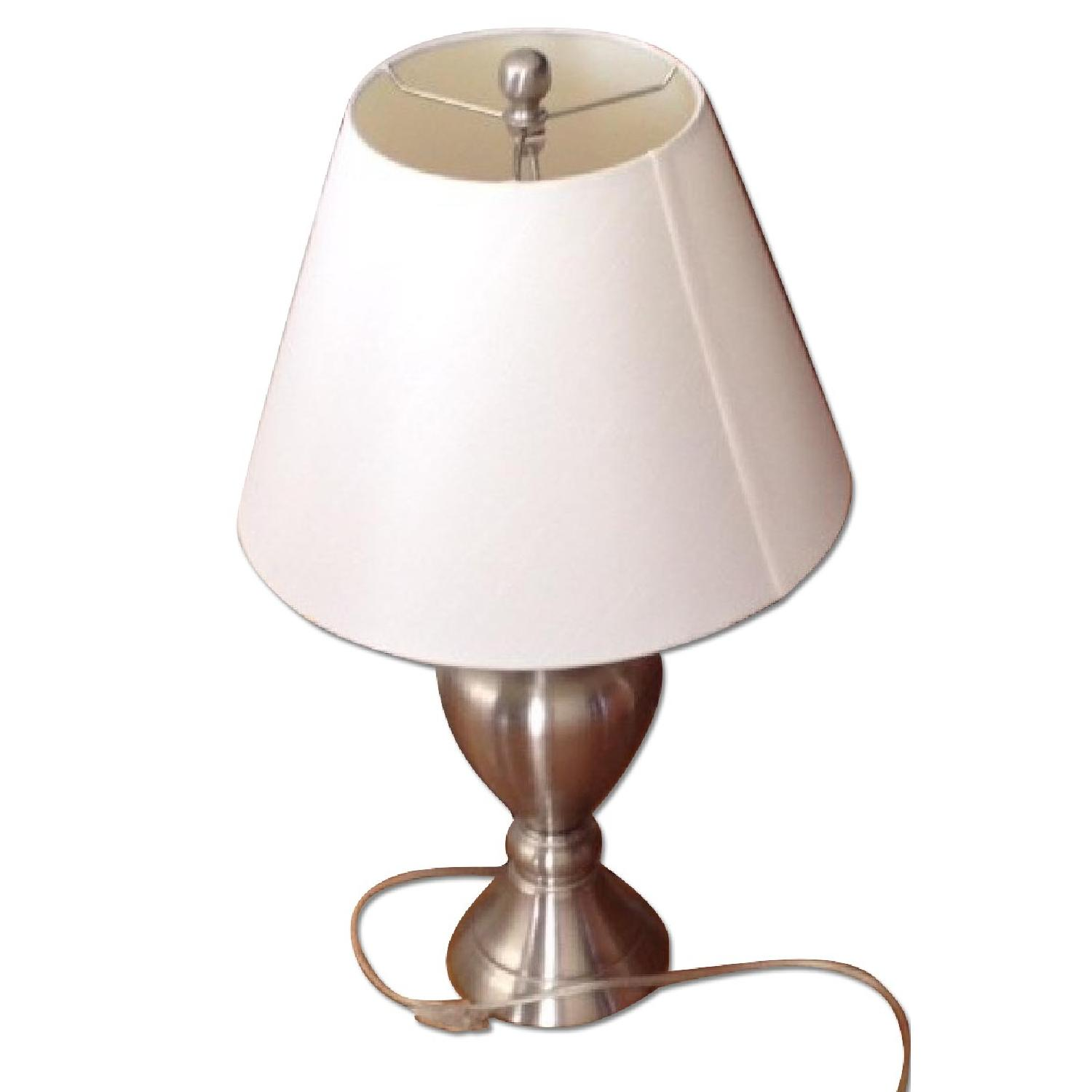 Macy's Silver Table Lamp w/ White Shade - image-2