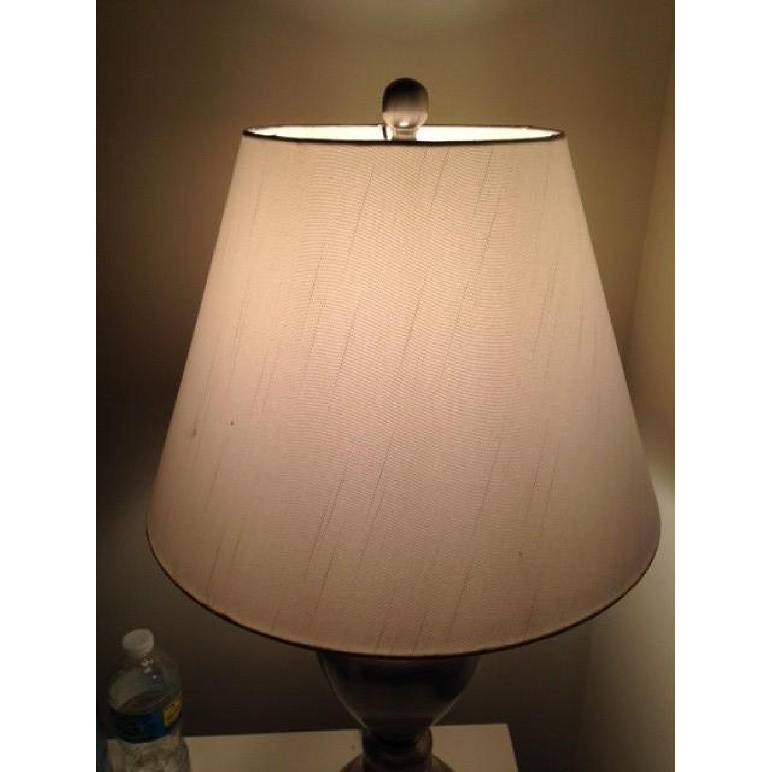 Macy's Silver Table Lamp w/ White Shade - image-3