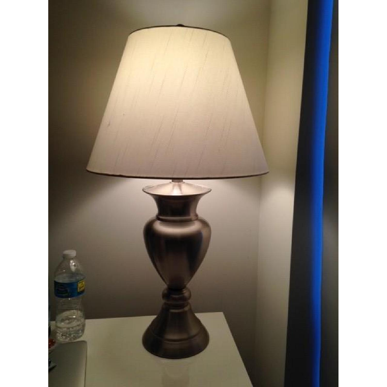 Macy's Silver Table Lamp w/ White Shade - image-6