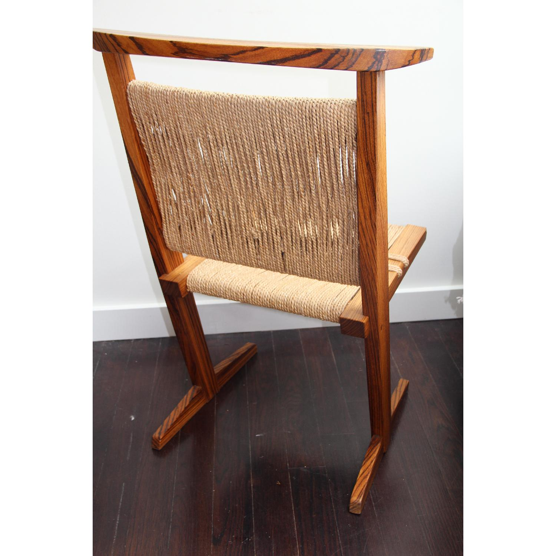Vintage Mid Century Zebra Wood/Hemp Chairs - Pair - image-1