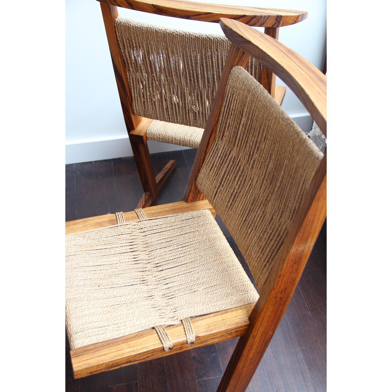 Vintage Mid Century Zebra Wood/Hemp Chairs - Pair - image-2