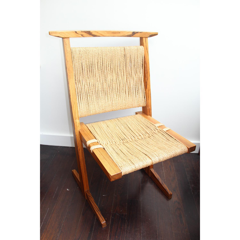 Vintage Mid Century Zebra Wood/Hemp Chairs - Pair - image-3