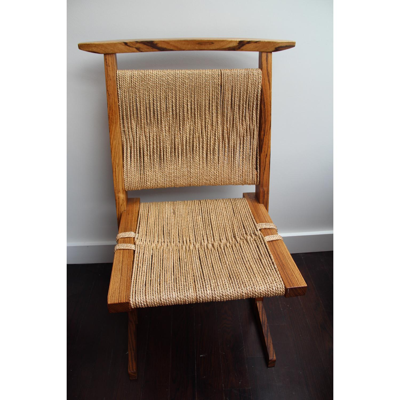 Vintage Mid Century Zebra Wood/Hemp Chairs - Pair - image-4