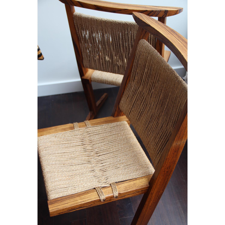Vintage Mid Century Zebra Wood/Hemp Chairs - Pair - image-5