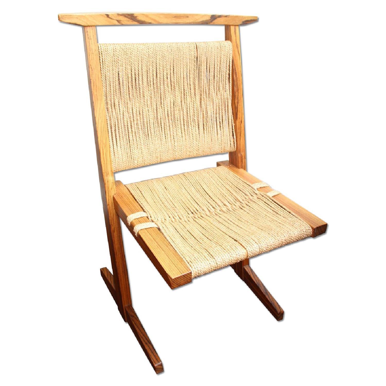 Vintage Mid Century Zebra Wood/Hemp Chairs - Pair - image-0