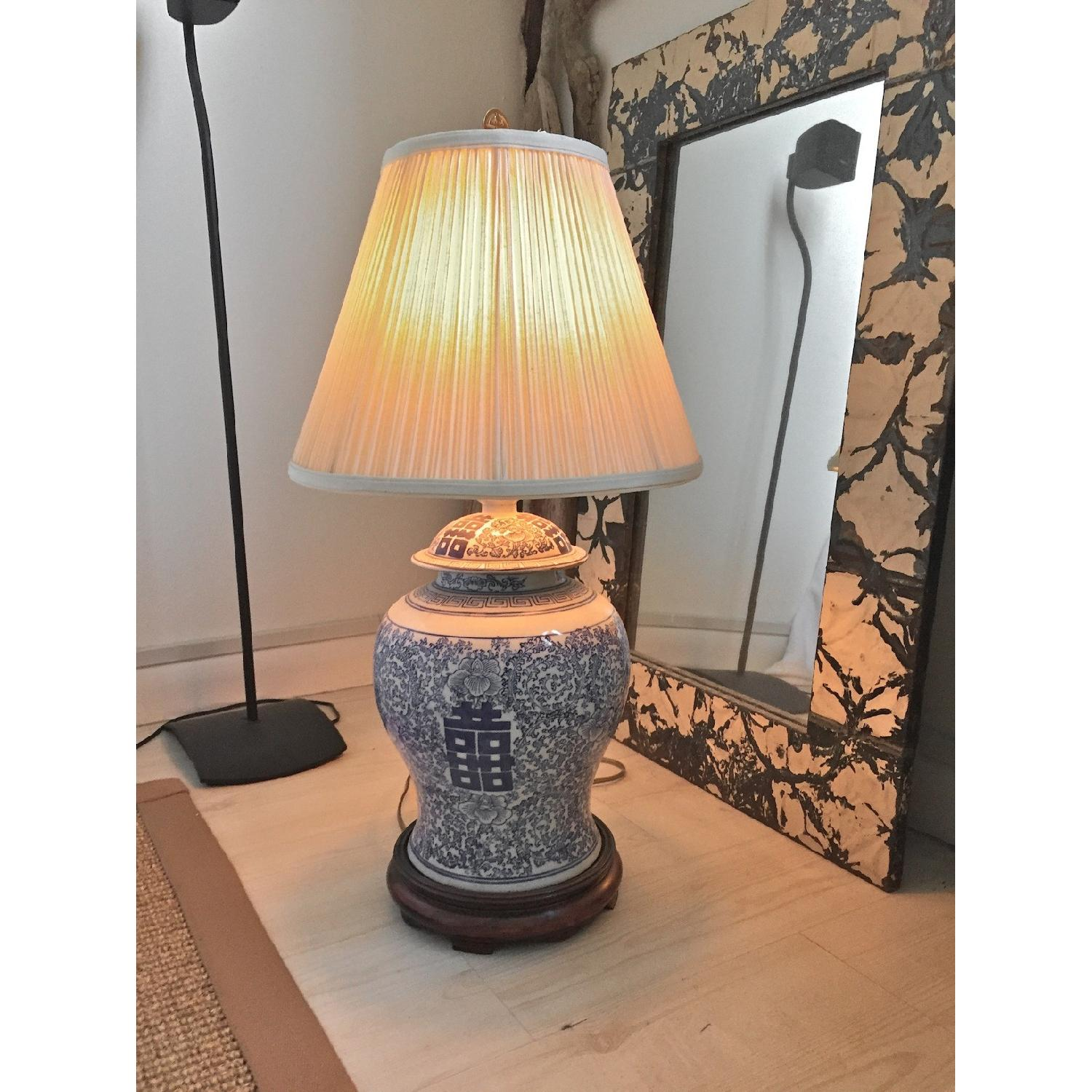 Oriental Table Lamp with Silk Shade - image-1