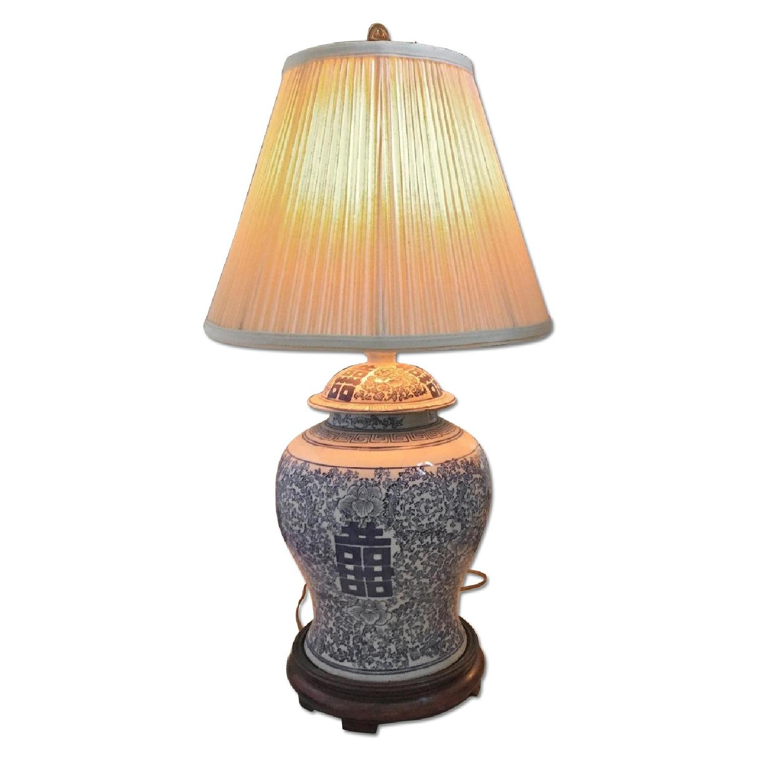 Oriental Table Lamp with Silk Shade - image-0