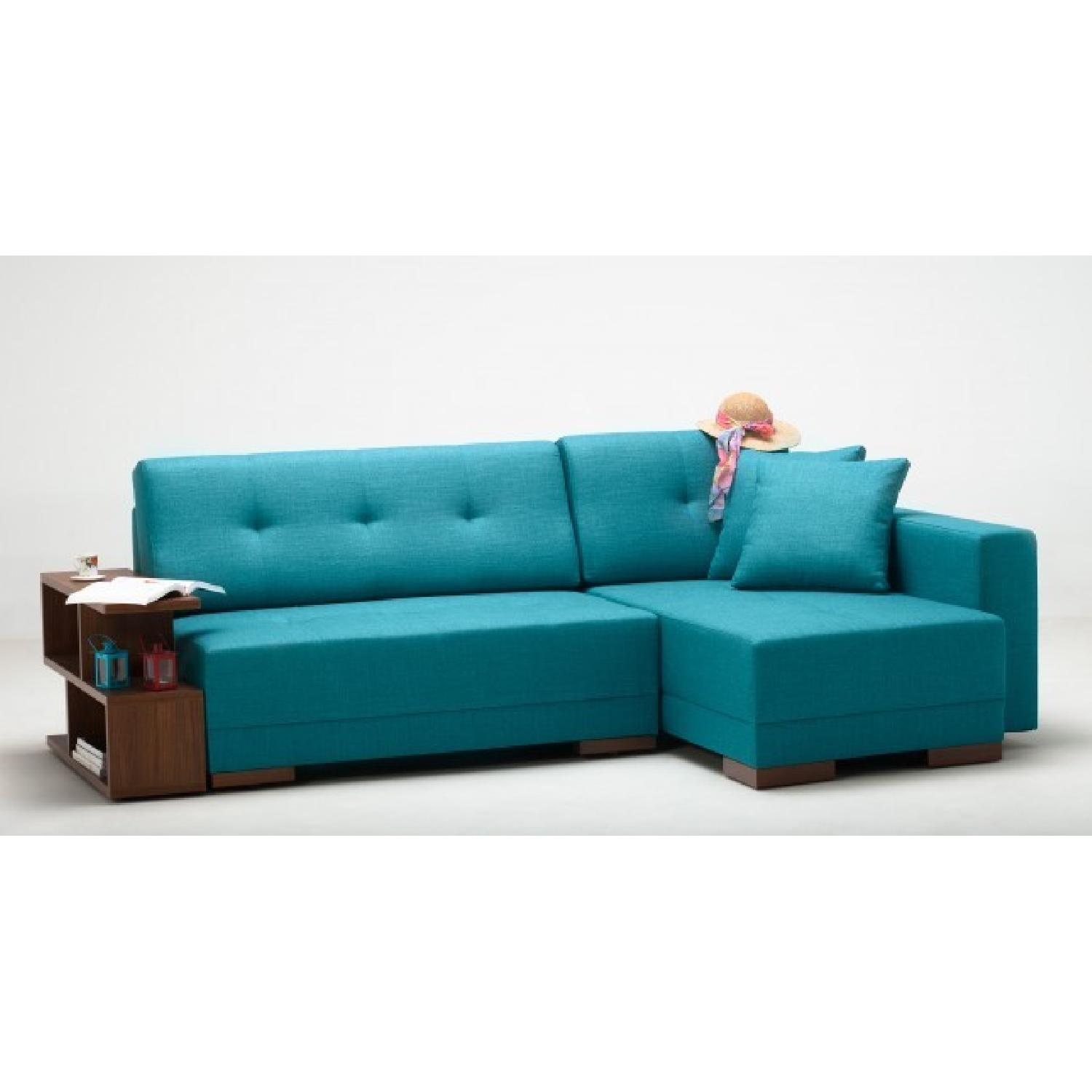 The Smart Sofa Right Side Corner Convertible Sofa in Turquoise - image-1