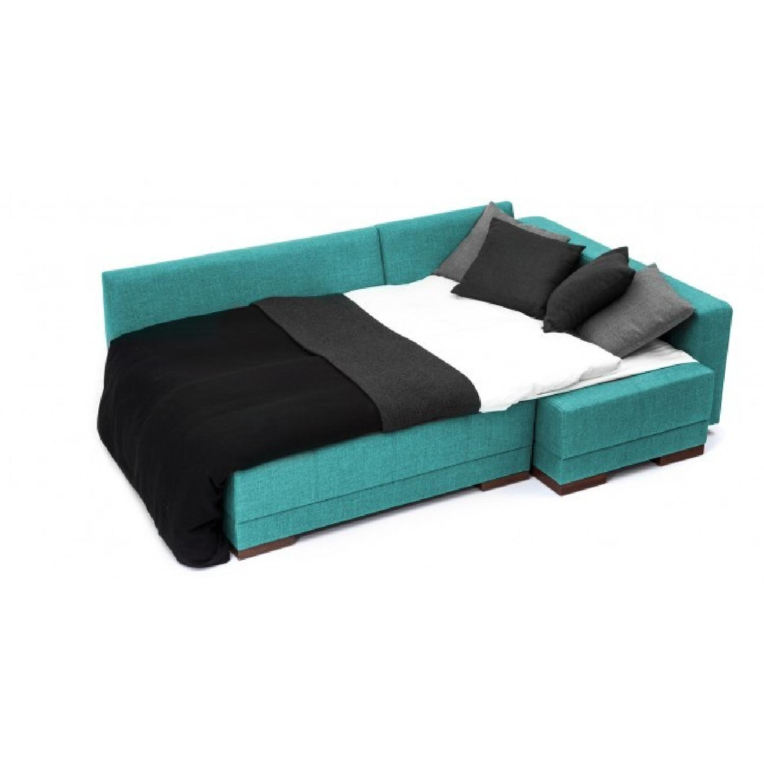 The Smart Sofa Right Side Corner Convertible Sofa in Turquoise - image-2