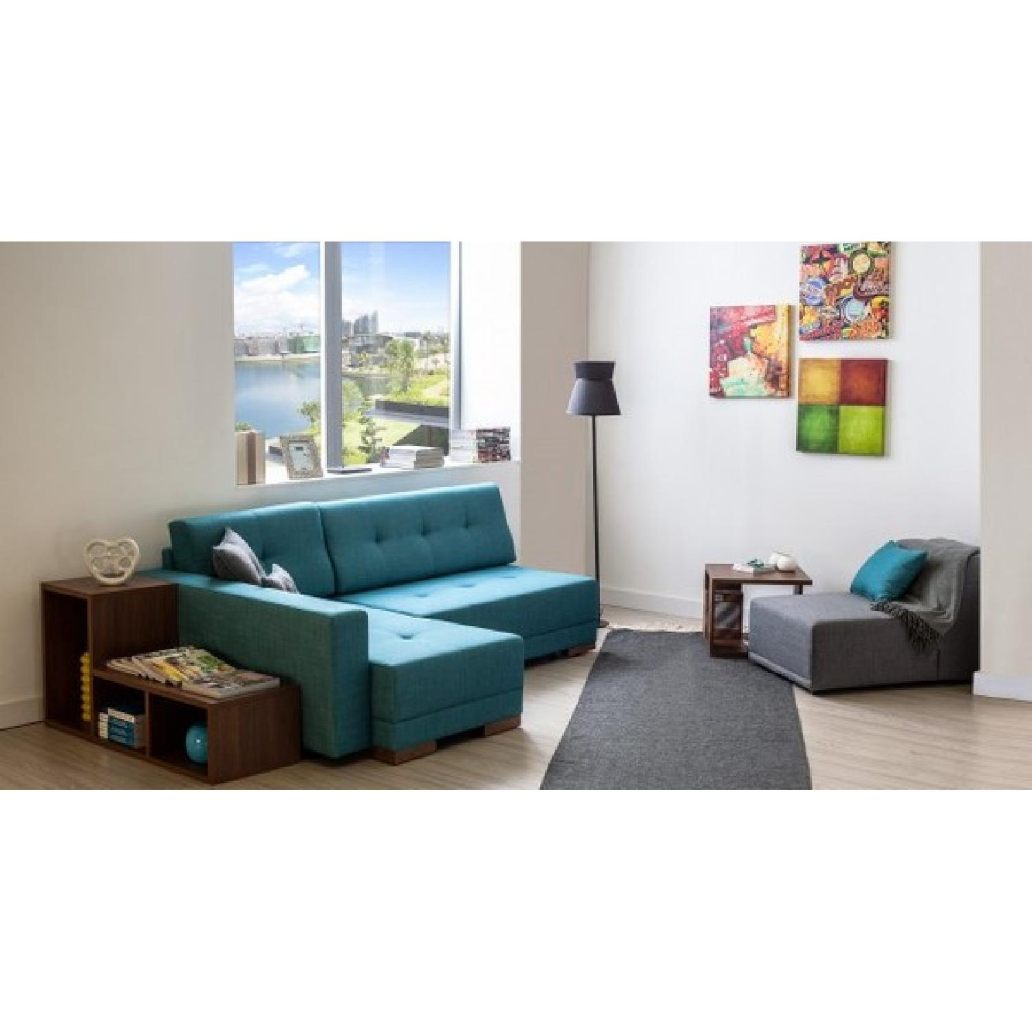 The Smart Sofa Right Side Corner Convertible Sofa in Turquoise - image-3