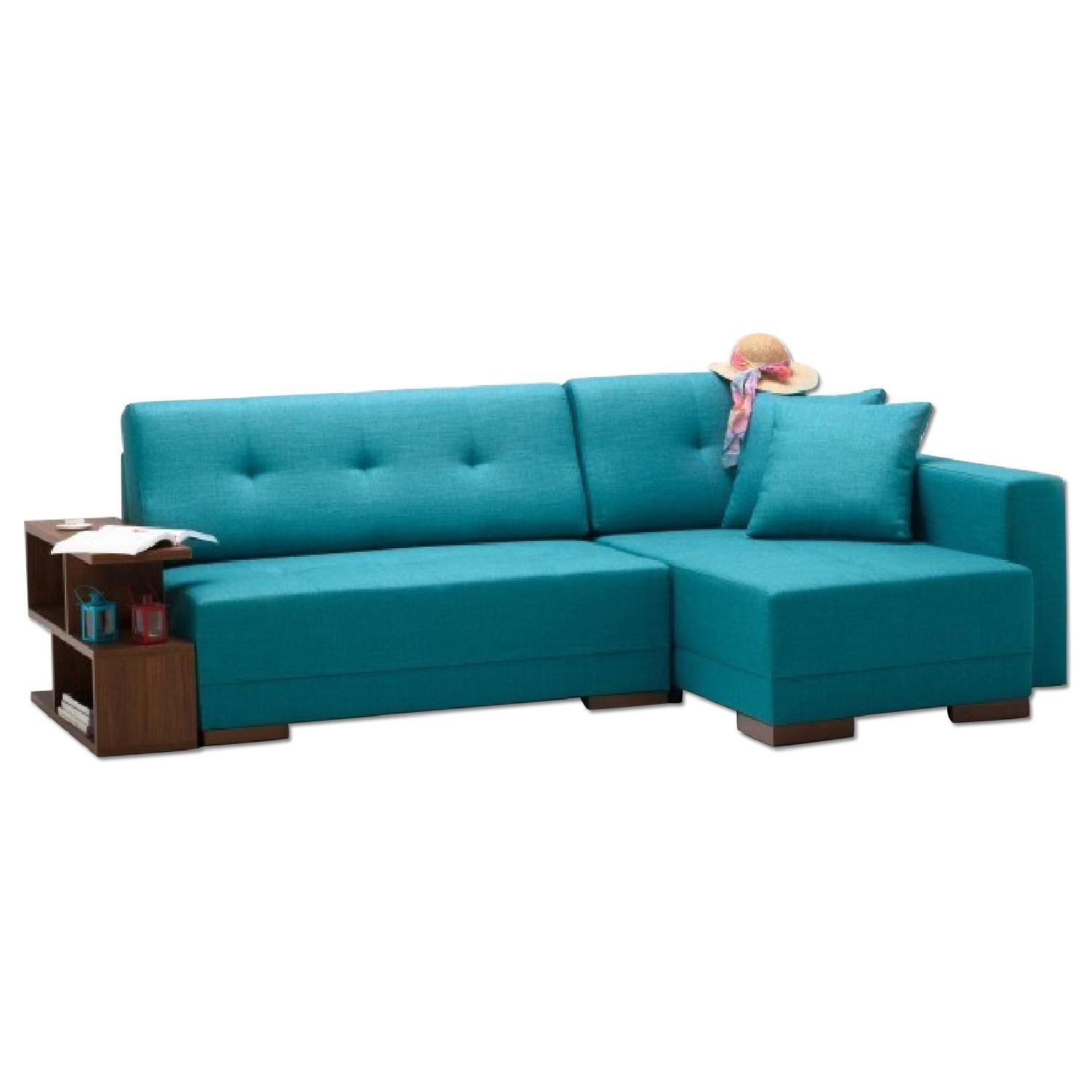 The Smart Sofa Right Side Corner Convertible Sofa in Turquoise - image-0