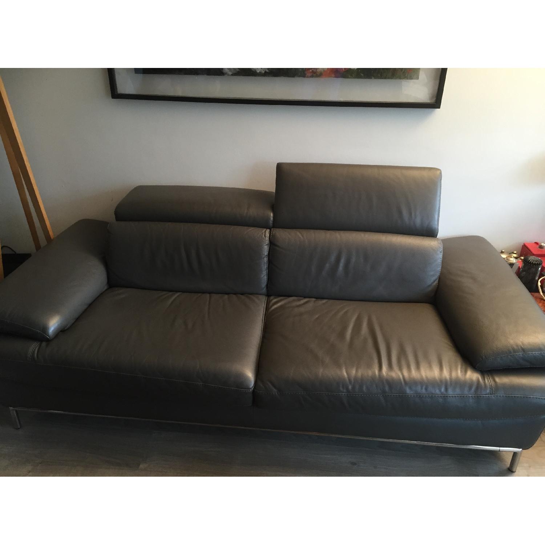 Borromini Grey Leather Sofa - image-1