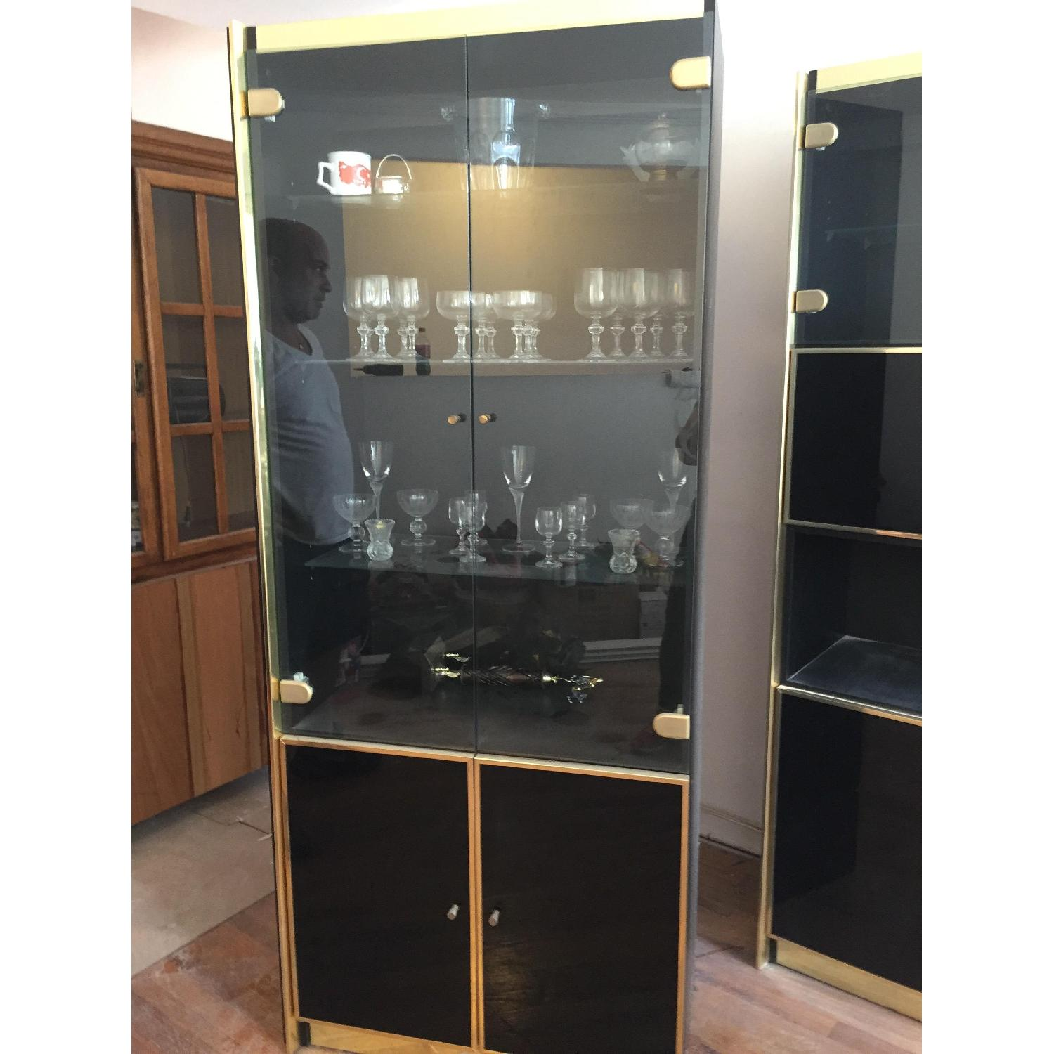 Vintage 3 Piece Lacquer & Wood with Glass Cabinets - image-3