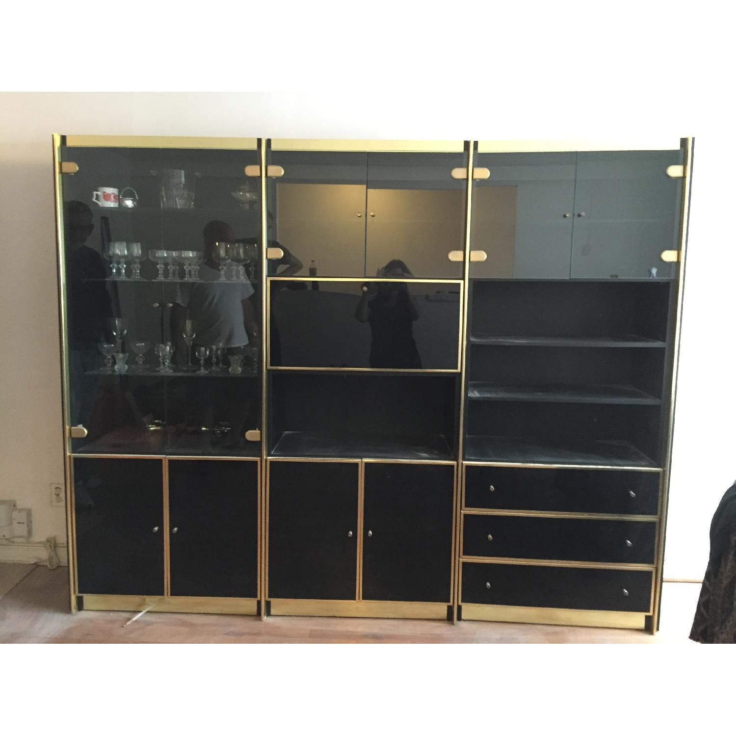 Vintage 3 Piece Lacquer & Wood with Glass Cabinets - image-4