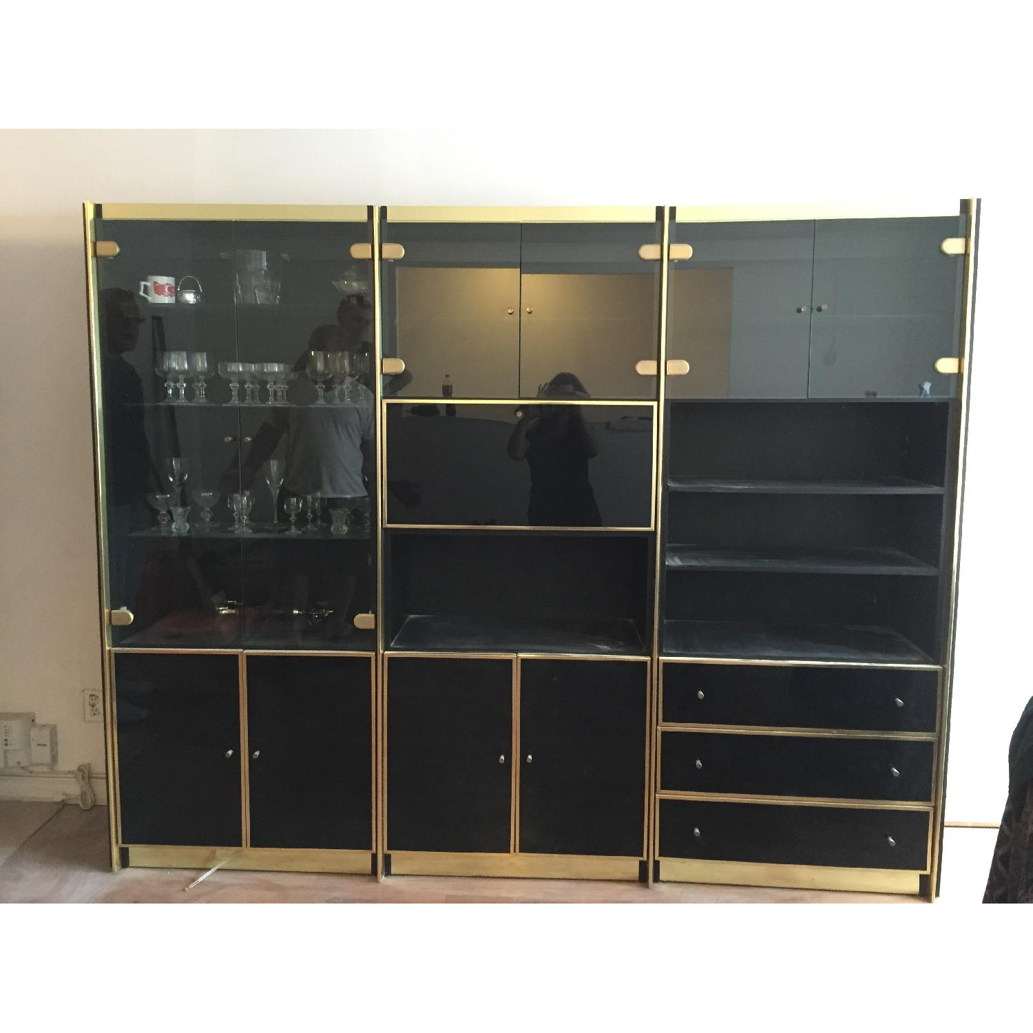 Vintage 3 Piece Lacquer & Wood with Glass Cabinets - image-5