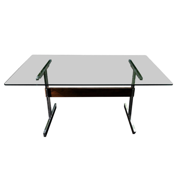 Vintage Mod Glass Desk/Dining Table - image-0