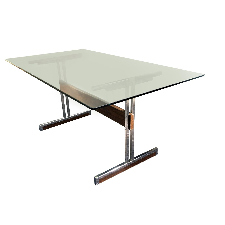 Vintage Mod Glass Desk/Dining Table - image-1