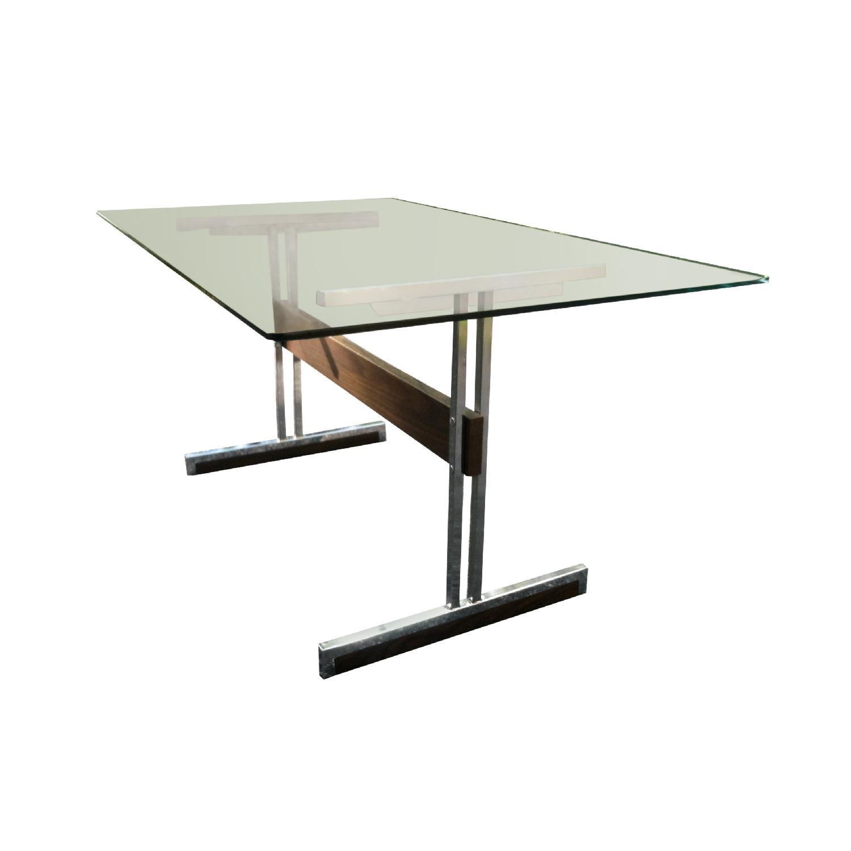 Vintage Mod Glass Desk/Dining Table - image-2