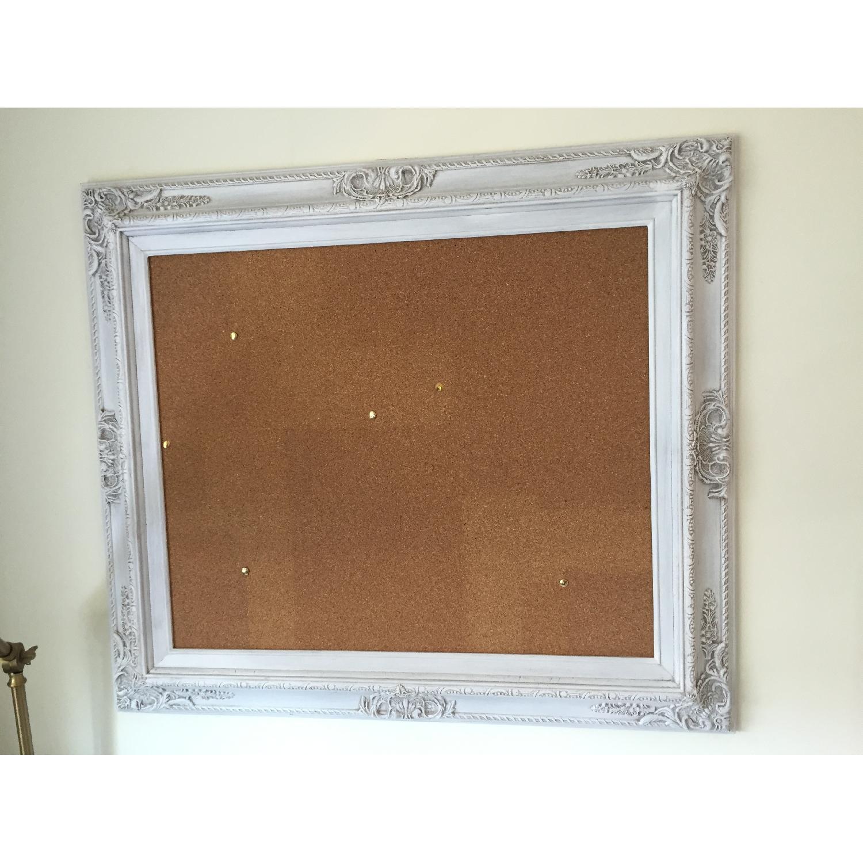 Revived Vintage White Framed Cork Board - image-1