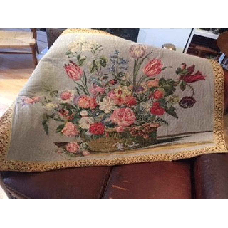 Vintage French Floral Tapestry Rug - image-1