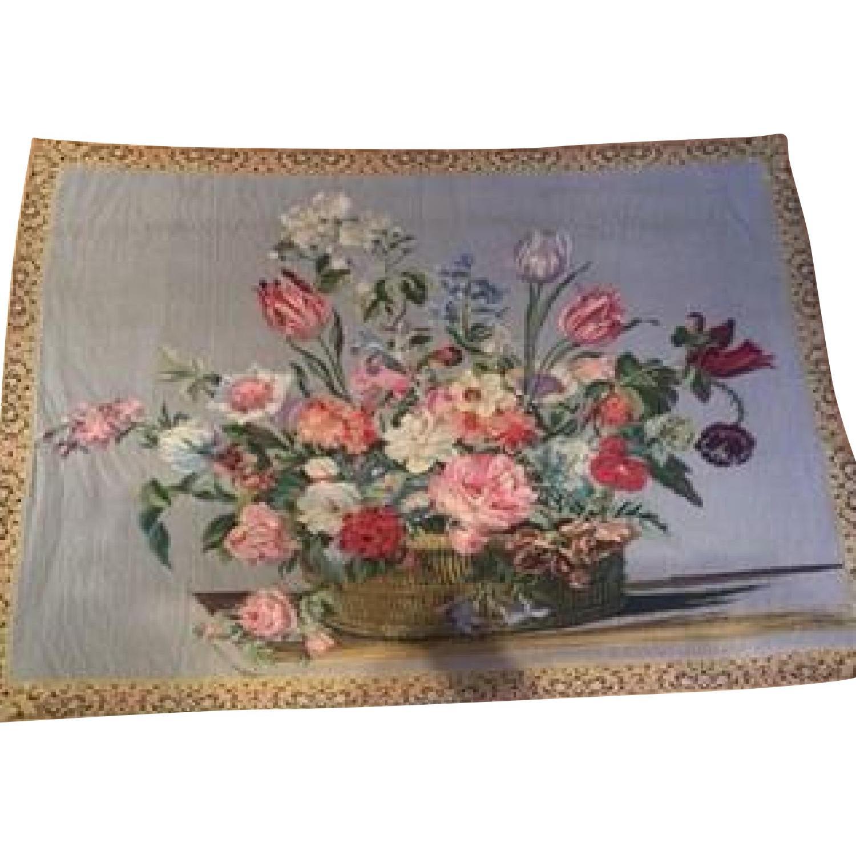 Vintage French Floral Tapestry Rug - image-0