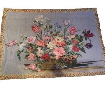 Vintage French Floral Tapestry Rug