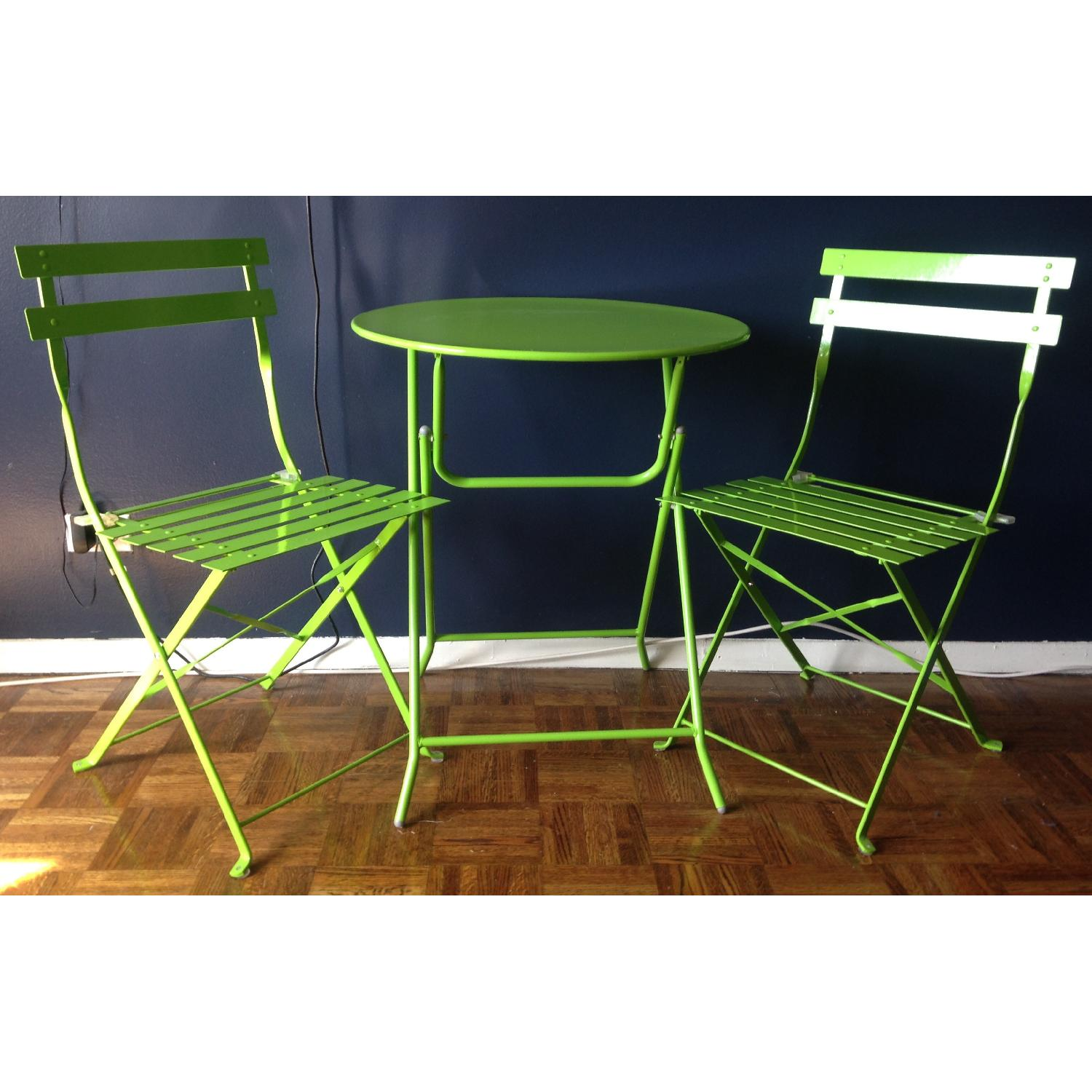Fun Lime Green Bistro Table w/ 2 Chairs - image-1