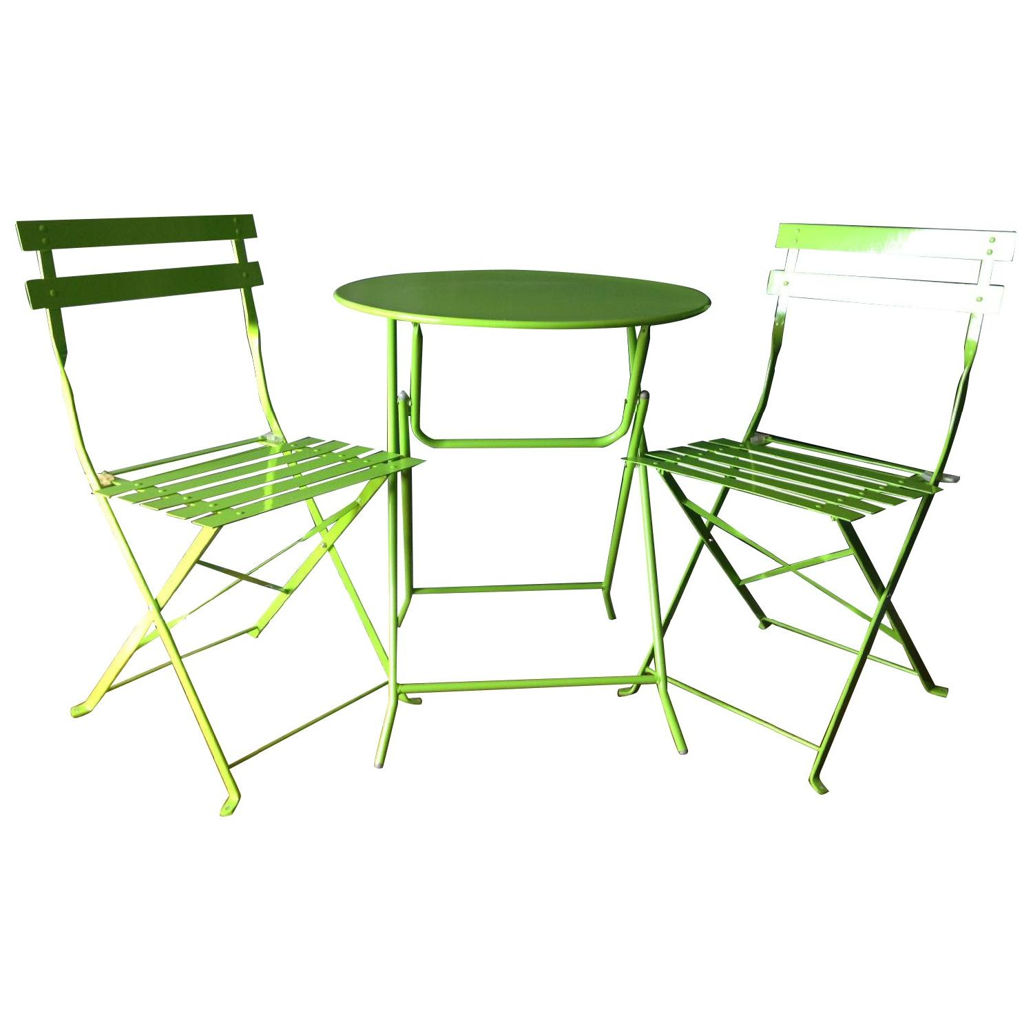 Fun Lime Green Bistro Table w/ 2 Chairs - image-0
