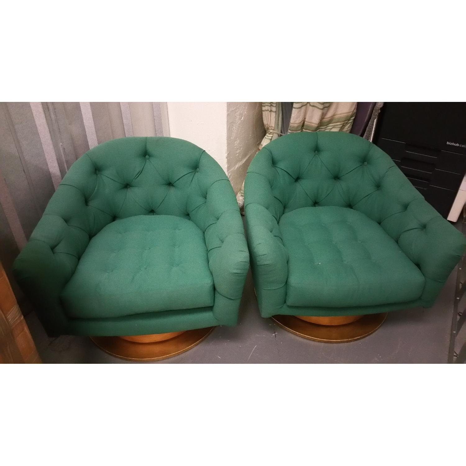 Emerald Green Swivel Tub Chairs - Pair - image-1