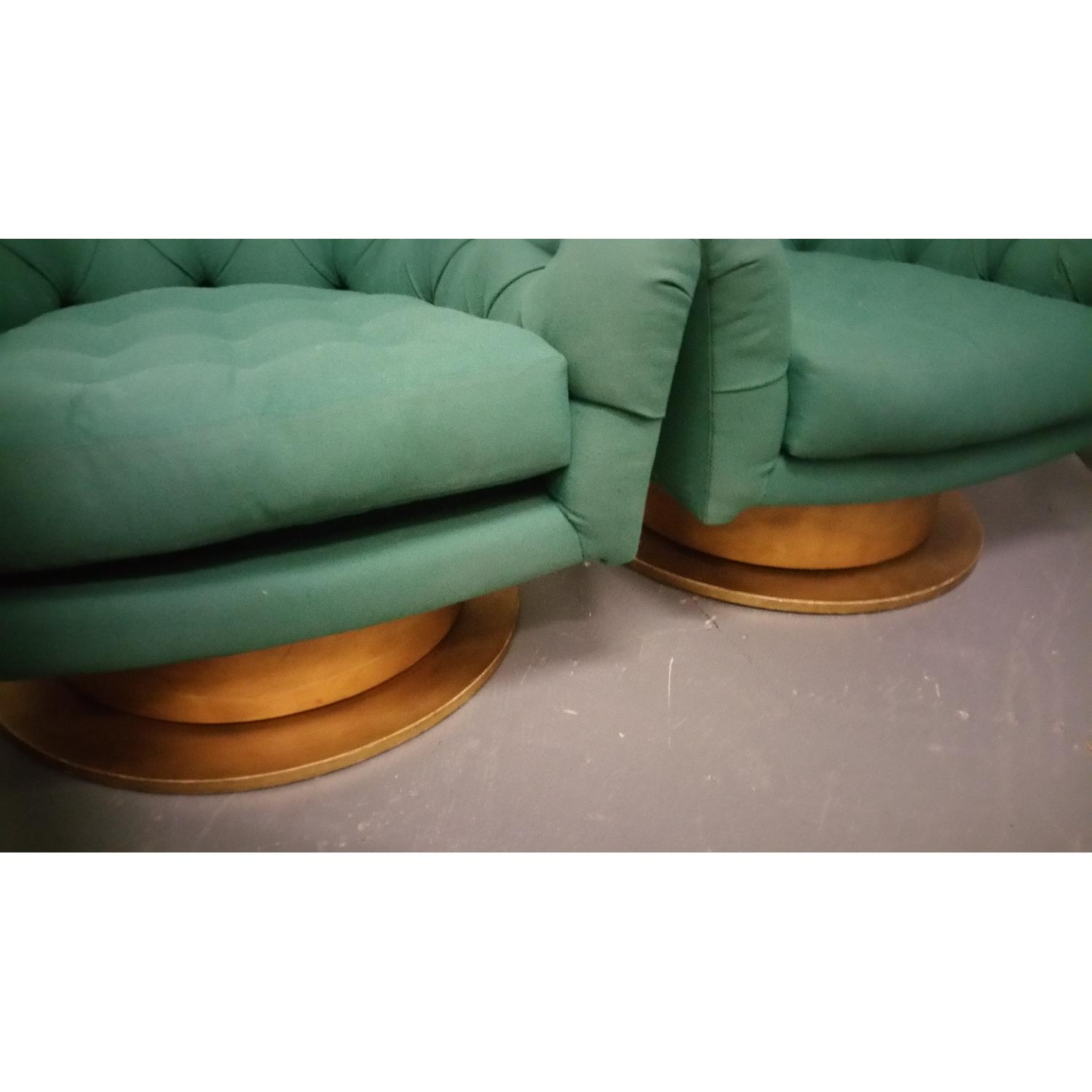 Emerald Green Swivel Tub Chairs - Pair - image-4