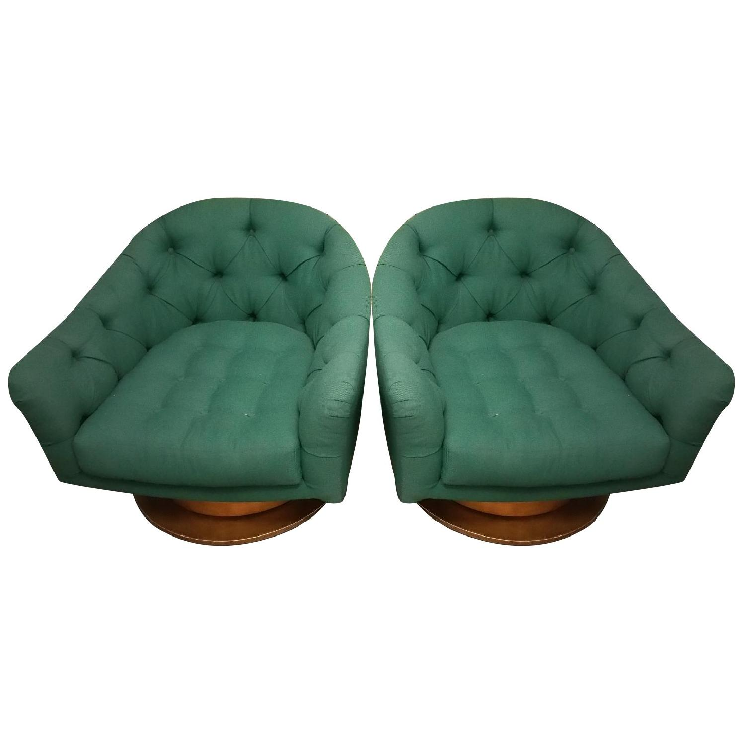 Emerald Green Swivel Tub Chairs - Pair - image-0