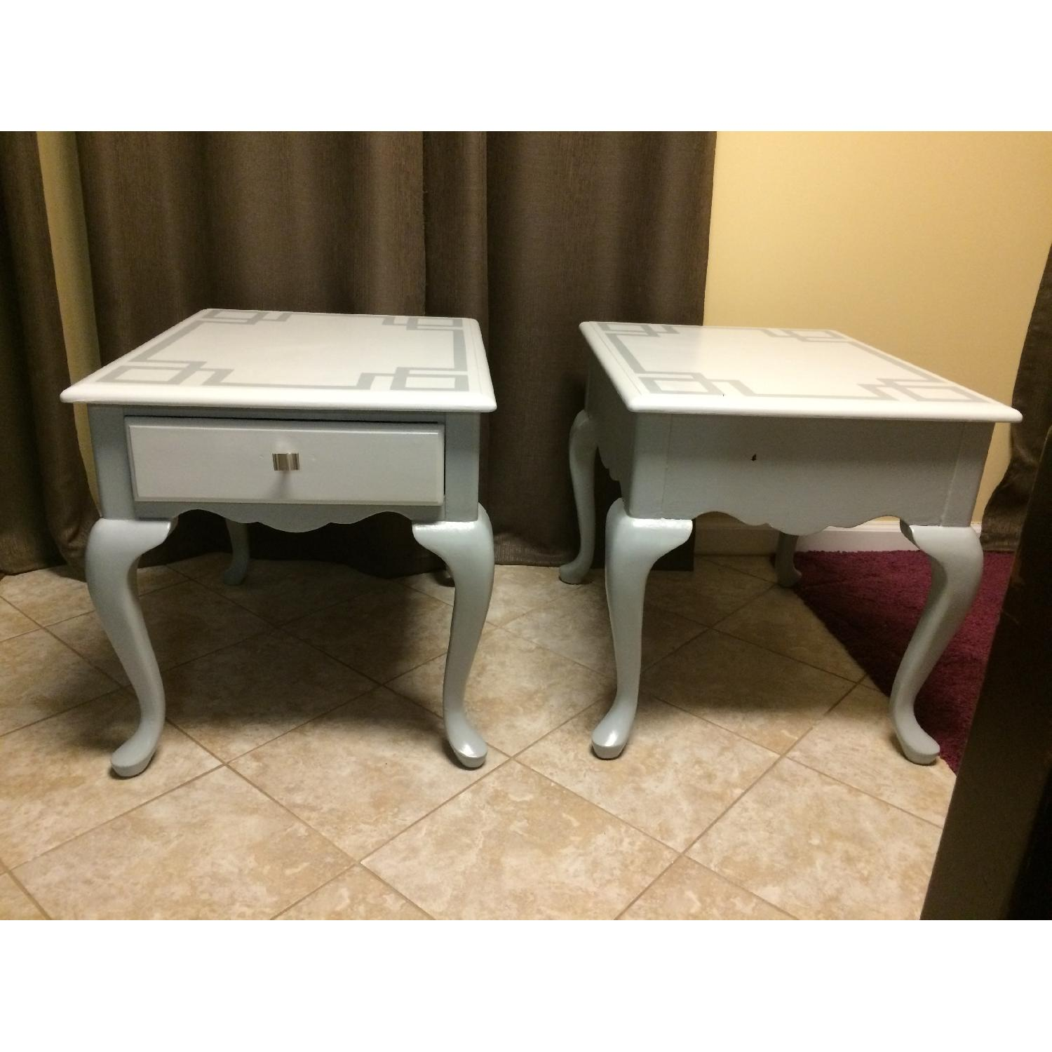 Ethan Allan Queen Anne Styled Side Tables in Gray - Pair - image-1