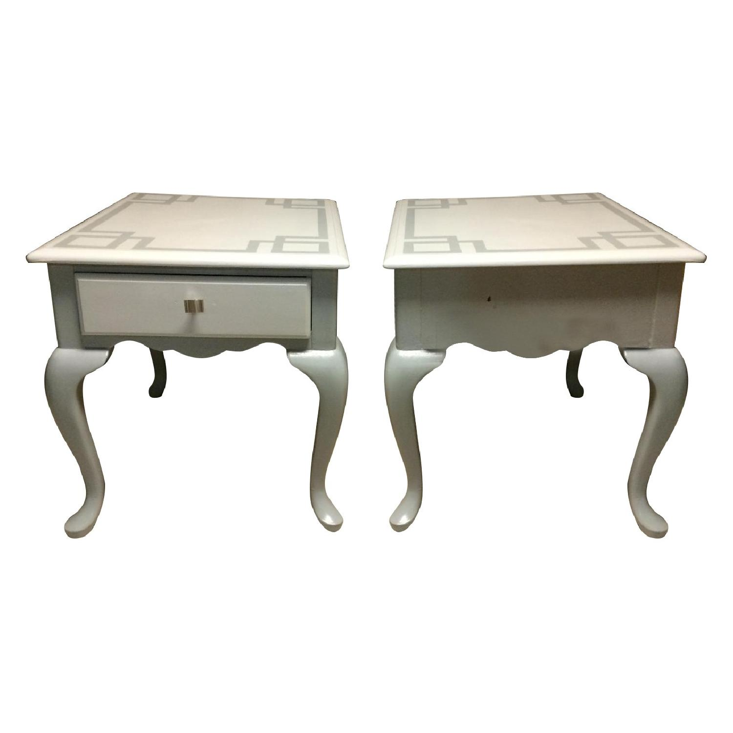 Ethan Allan Queen Anne Styled Side Tables in Gray - Pair - image-0
