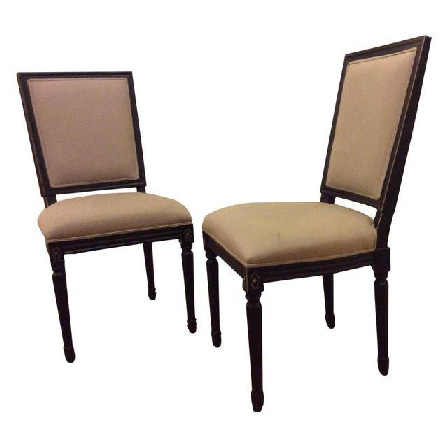 Horchow Wood Upholstered Dining Chairs - Pair - image-0