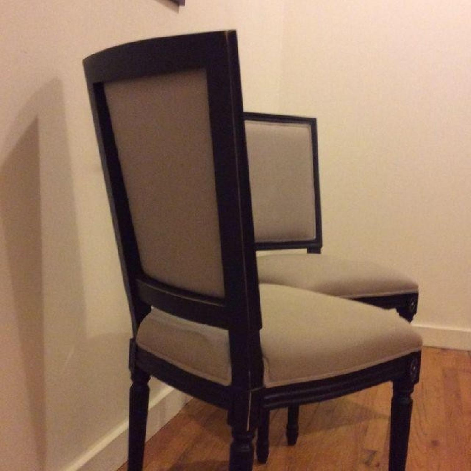 Horchow Wood Upholstered Dining Chairs - Pair - image-1