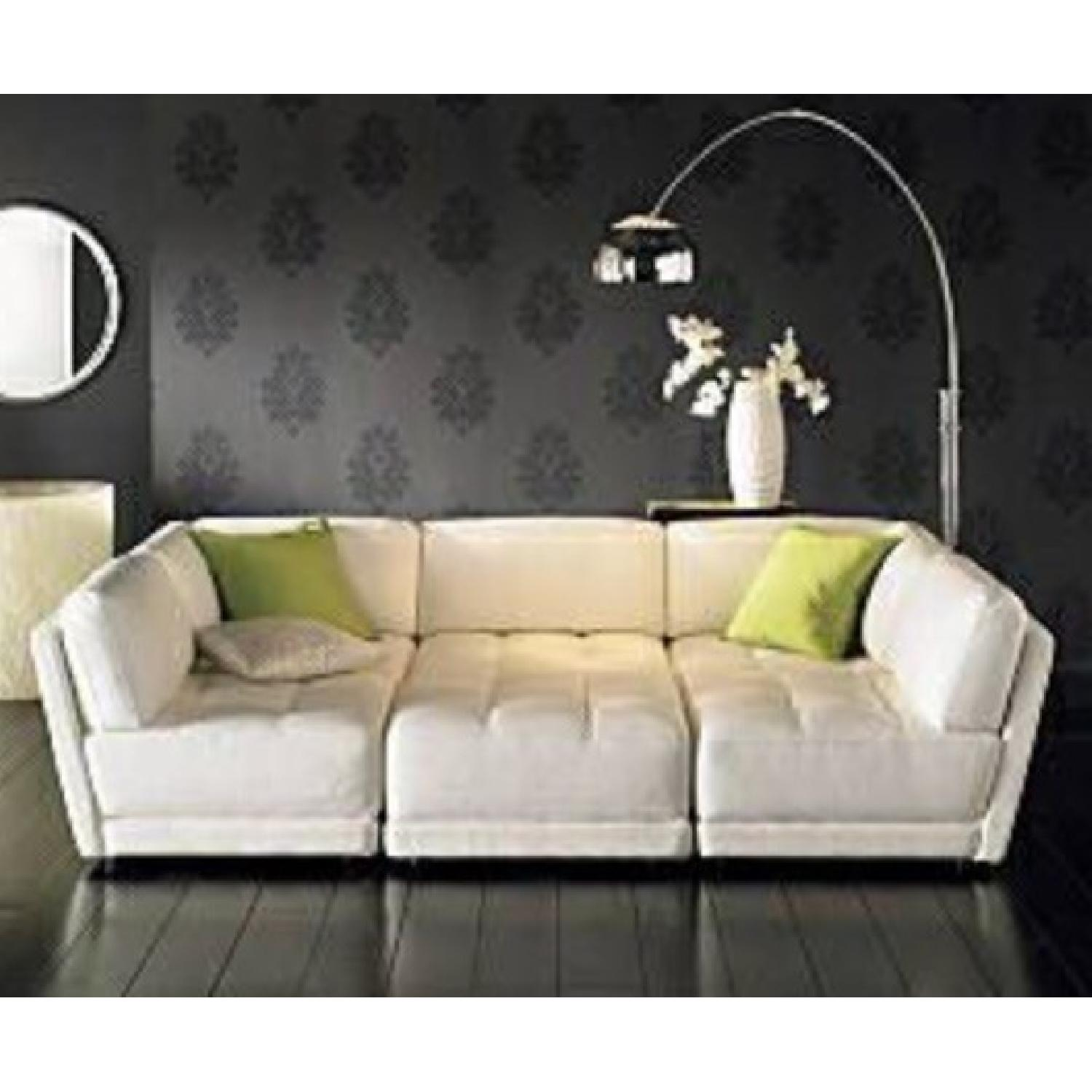 Vice Versa White Leather Modular Couch - image-2